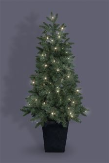 4FT 80 LED Pre Lit Potted Pine Tree