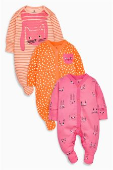 Cat Face Sleepsuits Three Pack (0mths-2yrs)