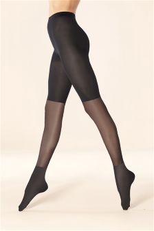 Sheer Opaque Panel Tights
