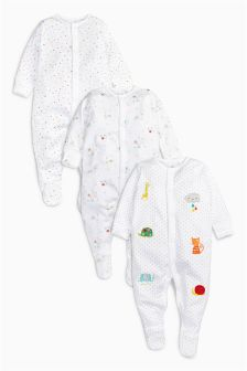 Animal Sleepsuits Three Pack (0-12mths)