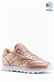 Reebok Rose Gold Pearlized Classic Leather Trainer