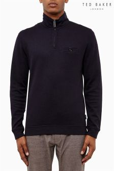 Ted Baker Navy Jersey Zip Neck Sweat