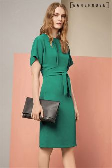 Warehouse Green Open Back Midi Dress