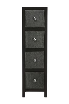 Set Of 4 Leather Effect Drawers