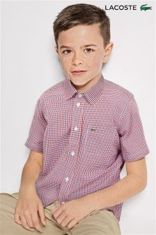 Lacoste® Red Gingham Short Sleeve Shirt