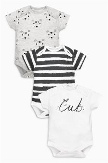 Cub Short Sleeve Bodysuits Three Pack (0mths-2yrs)