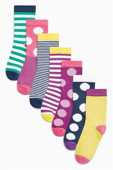 Spots And Stripes Socks Seven Pack (Older Girls)