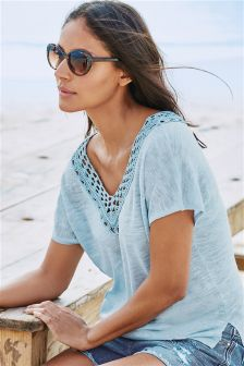 Linen Mix Crochet Sweater