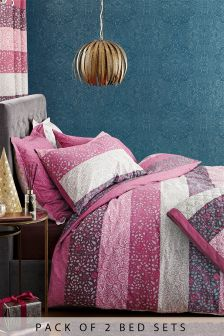 2 Pack Paisley Woodblock Bed Set