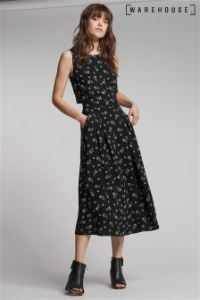 Warehouse Black Dotty Floral Open Back Dress