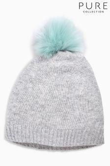 Pure Collection Grey Cashmere Faux Fur Pom Hat