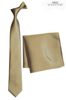 Signature Silk Tie And Pocket Square Set