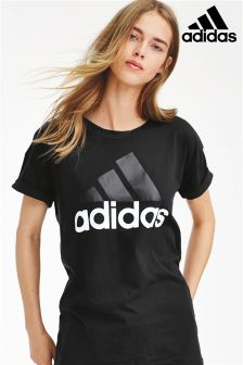 adidas Black Essential Linear Logo Tee