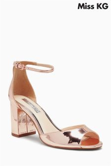Miss KG Rose Gold Gaze Mirror Metallic Block Heel