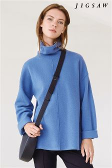 Jigsaw River Blue Boiled Wool Sweater