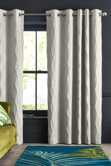 Raised Geo Eyelet Curtains