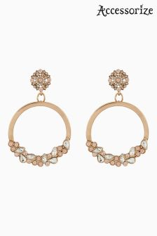 Accessorize Clear Starburst Hoop Statement Earrings