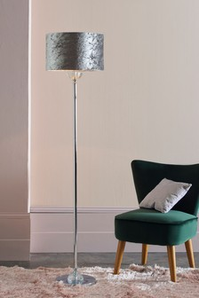 Grey Crushed Velvet Floor Lamp