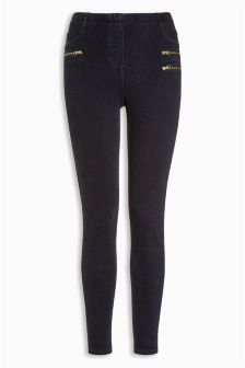Zip Denim Leggings