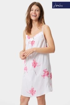 Joules White Orchid Print Cassia Night Dress