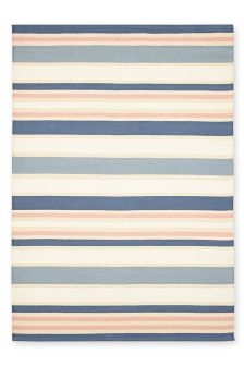 Flat Weave Pink And Chambray Stripe Cotton Rug