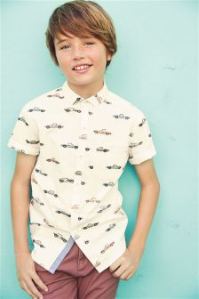 Short Sleeve Car Print Shirt (3-16yrs)