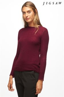 Jigsaw Persian Red Cashmere Crew Knit