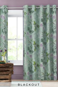 Cotton Wild Hedgerow Teal Blackout Eyelet Curtains