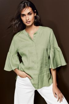 Linen Sleeve Detail Shirt