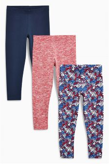 Ditsy Print Leggings Three Pack (3-16yrs)