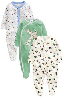 Aeroplane Print Sleepsuits Three Pack (0mths-2yrs)