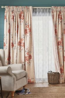 Coral Maytown Floral Print Pencil Pleat Curtain