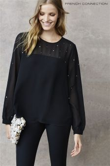 French Connection Black Embellished Blouse
