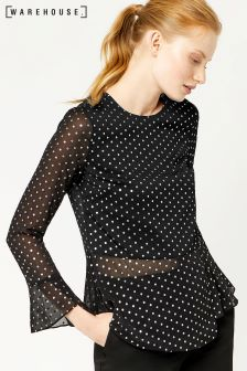 Warehouse Black Foil Spot Peplum Hem Top
