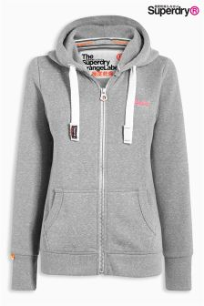 Superdry Grey Orange Label Primary Zip Hoody