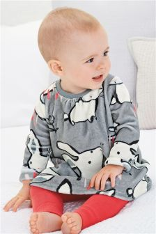 Bunny Print Velour Dress And Footless Tights Set (0mths-2yrs)