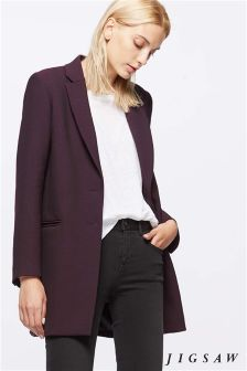 Jigsaw Winter Plum Wool Coat