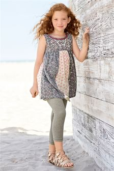 Mix Print Tunic And Leggings Set (3-16yrs)