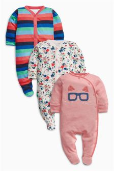 Cat Stripe Sleepsuits Three Pack (0mths-2yrs)