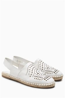 Leather Laser Cut Sling Back Espadrilles