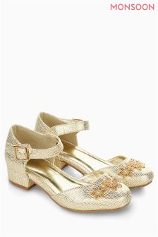 Monsoon Gold Flower Metallic Heel