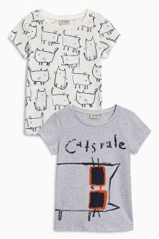 Multi Cat T-Shirts Two Pack (3-16yrs)