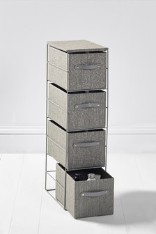Set Of 4 Charcoal Glitter Drawers