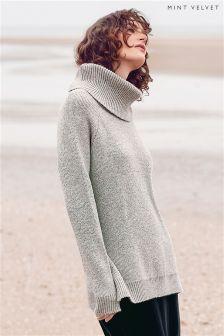 Mint Velvet Silver Grey Lurex Detail Chunky Oversize Cocoon Knit