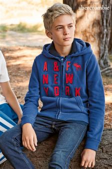 Abercrombie & Fitch Navy/Red Zip Hoody