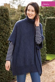 Joules Oriell Indigo Marl Knitted Poncho