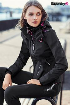Superdry Black/Pink Tech Hooded Pop Zip Windcheater