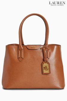 Lauren Ralph Lauren Tan Leather City Tote Bag
