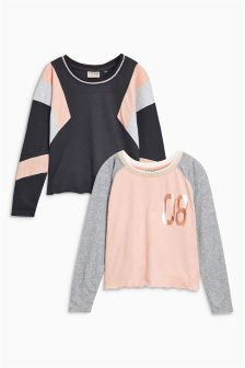 Sporty Long Sleeve Tops Two Pack (3-16yrs)