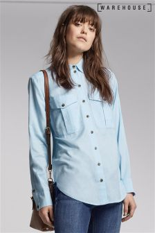 Warehouse Blue Relaxed Pocket Detail Shirt